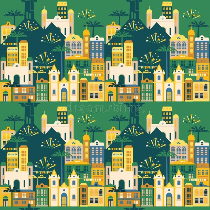 Latijns-Amerikaanse vakantie, de Juni-partij van Brazilië Naadloos patroon vector illustratie