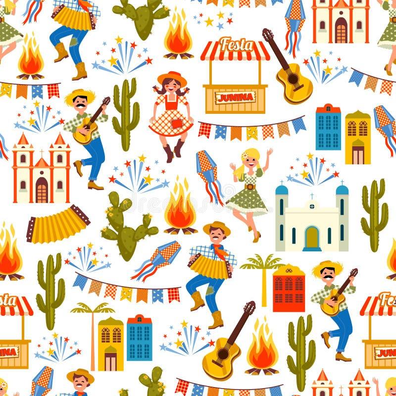 Latijns-Amerikaanse vakantie, de Juni-partij van Brazilië Naadloos patroon royalty-vrije illustratie