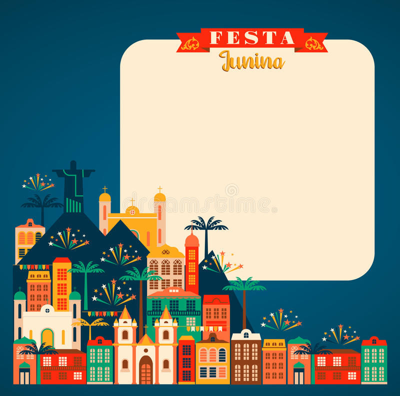 Latijns-Amerikaanse vakantie, de Juni-partij van Brazilië Vector illustratie vector illustratie