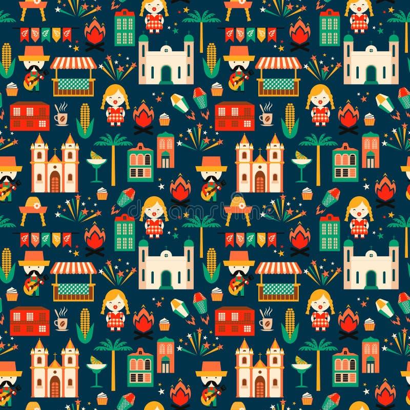 Latijns-Amerikaanse vakantie, de Juni-partij van Brazilië Vlak naadloos patroon vector illustratie