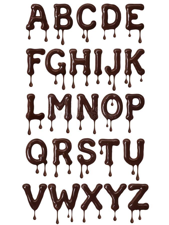 Latijns die alfabet van gesmolten chocolade met dalingen wordt gemaakt vector illustratie