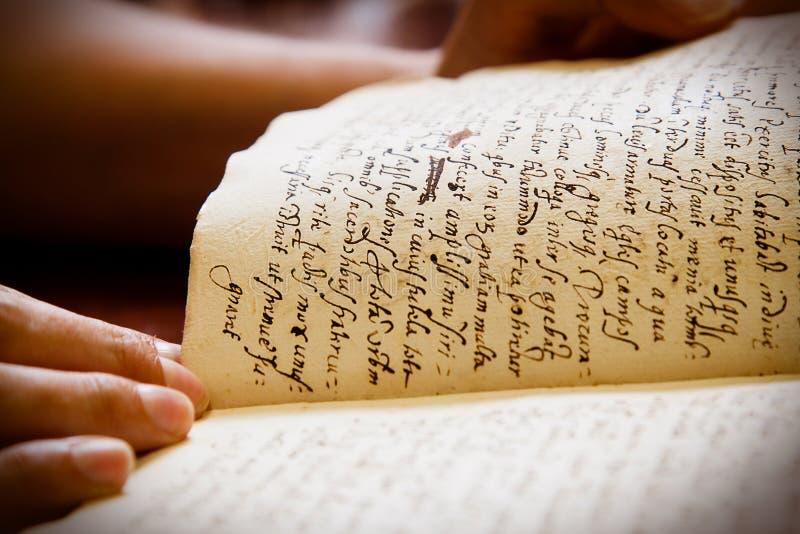 Latijns manuscript stock foto
