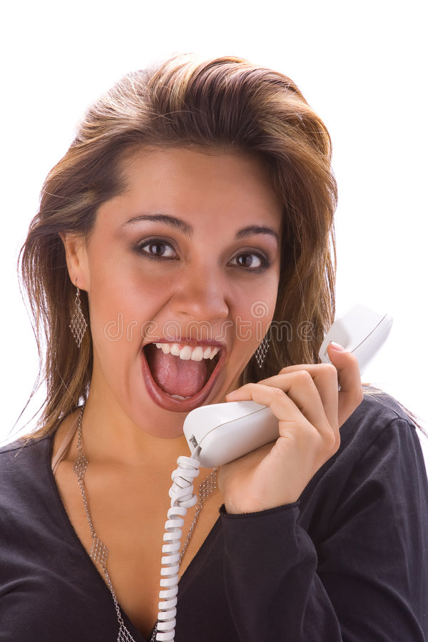 Latijns meisje met telefoon stock foto's