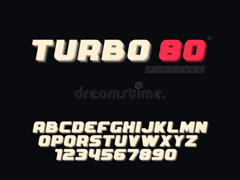Latijnse alfabetletters in hoofdletters en getal Retro 3d doopvont Vector illustratie royalty-vrije illustratie