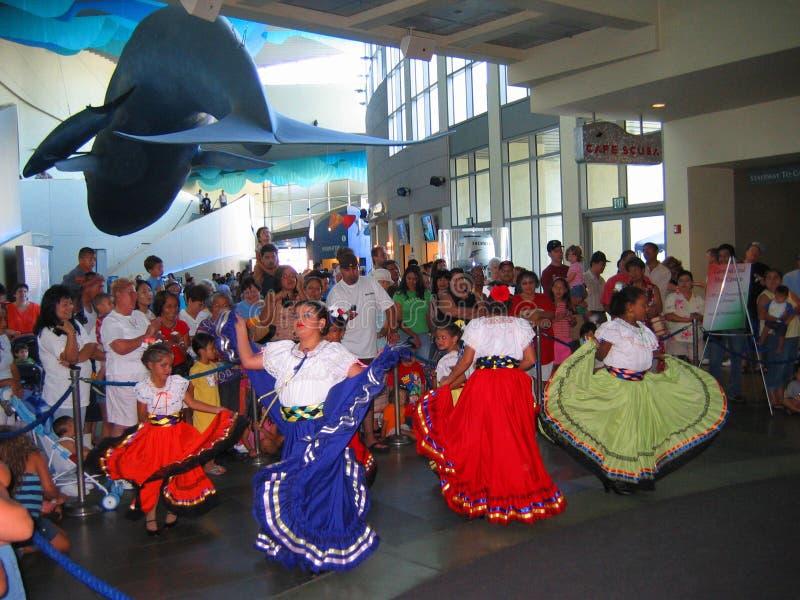 Latijnse Culturele Dansers, Aquarium van de Stille Oceaan, Long Beach, Californië, de V.S. royalty-vrije stock fotografie