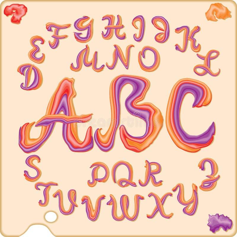 Latijnse cursieve die brieven uit drie kleuren worden samengesteld stock illustratie