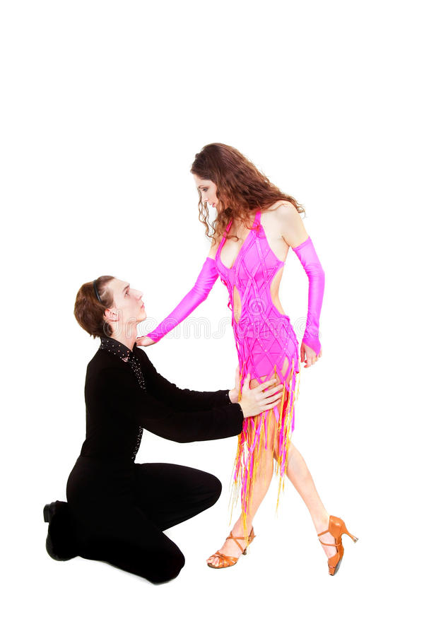 Latijnse dansers over wit royalty-vrije stock afbeeldingen