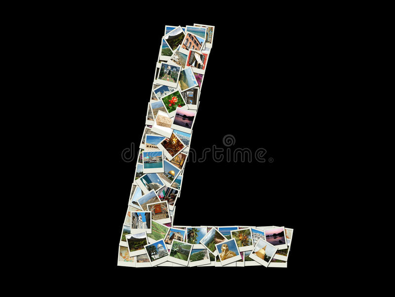 Latijnse die alfabetbrief L als collage van reisfoto's wordt gemaakt stock afbeeldingen
