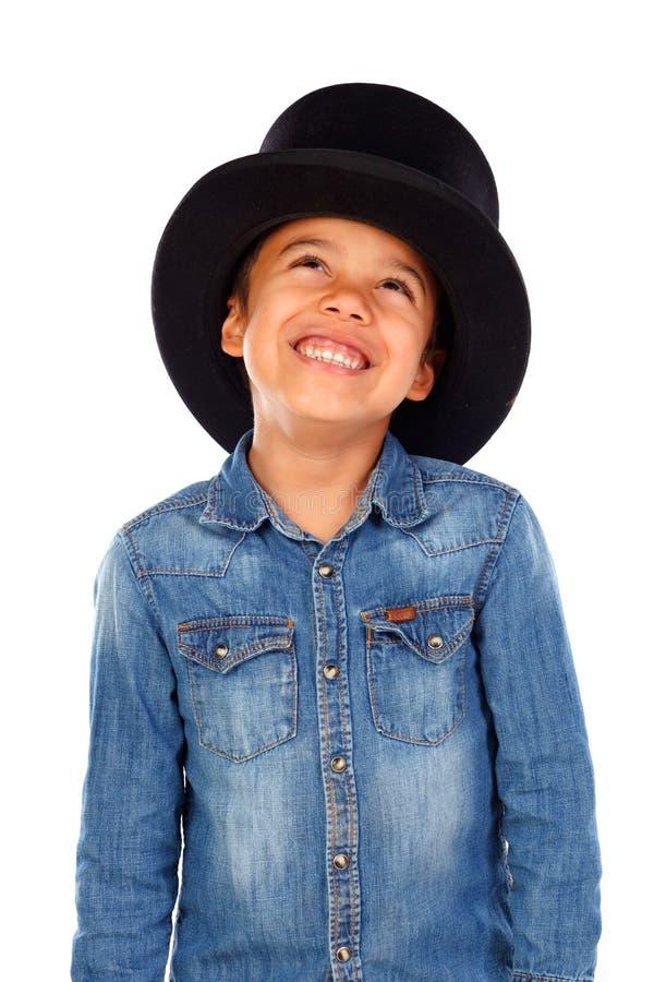 Latijnse grappige jongen met zwarte hoge zijden royalty-vrije stock afbeeldingen