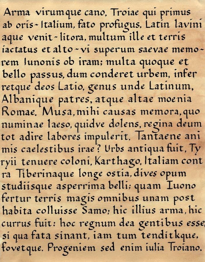 Latijnse Kalligrafie (van Aeneid van Virgil) stock foto's