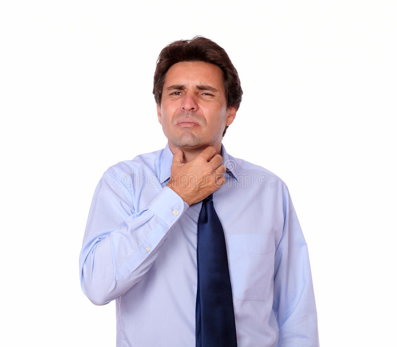 Latin adult man with throat pain royalty free stock images