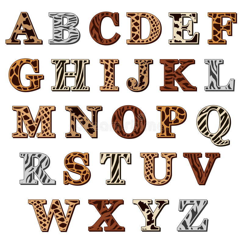 Latin alphabet with animal print. Capital letters of the Latin alphabet with animal print resembling the natural pattern of the skin and fur of wild animals vector illustration