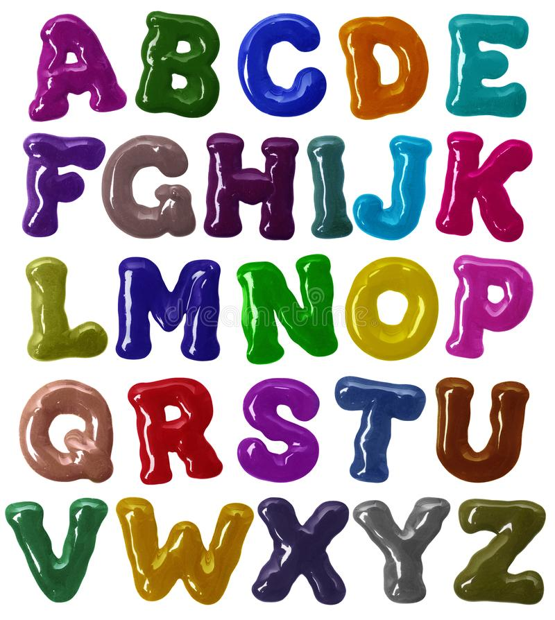 Latin alphabet bold font made of colorful glaze in high resolution stock image