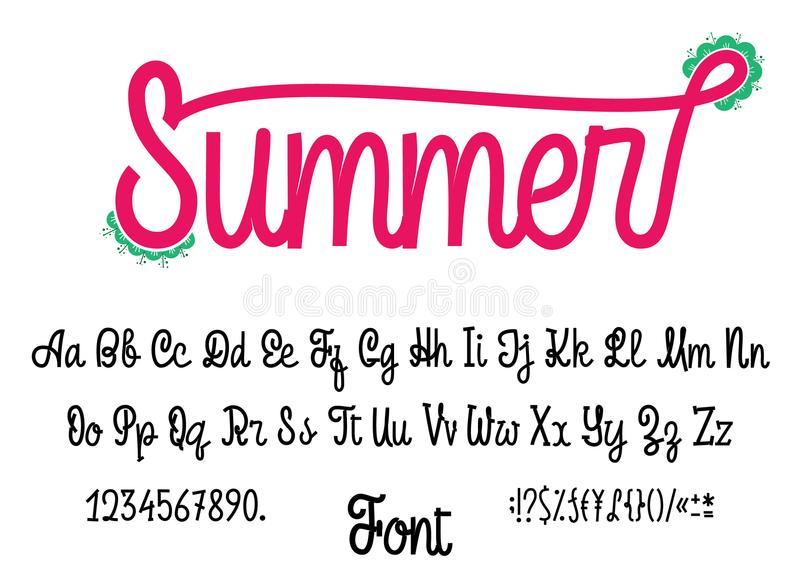 Latin alphabet Summer. Font handwriting with upper and lowercase characters, numbers and symbols. Modern script of. Monolines. For your design stock illustration