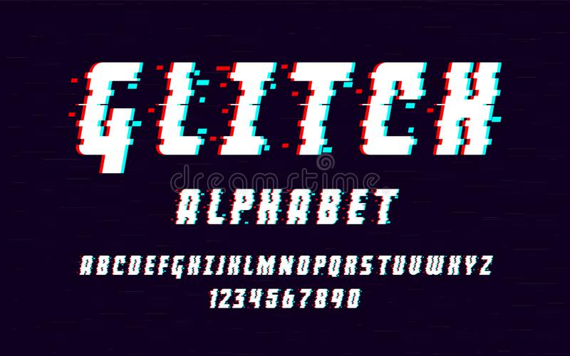 Latin alphabet. Trendy font 2018 style distorted glitch typeface. Letters and numbers vector illustration. stock illustration