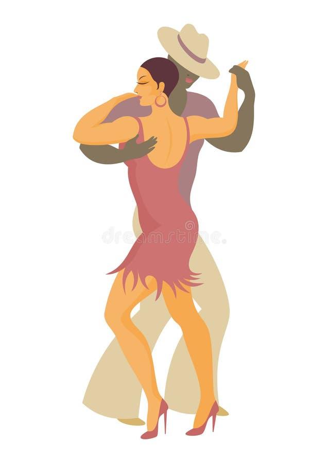 Latin America dance salsa. Lady and gentleman dance Latin America salsa stock illustration