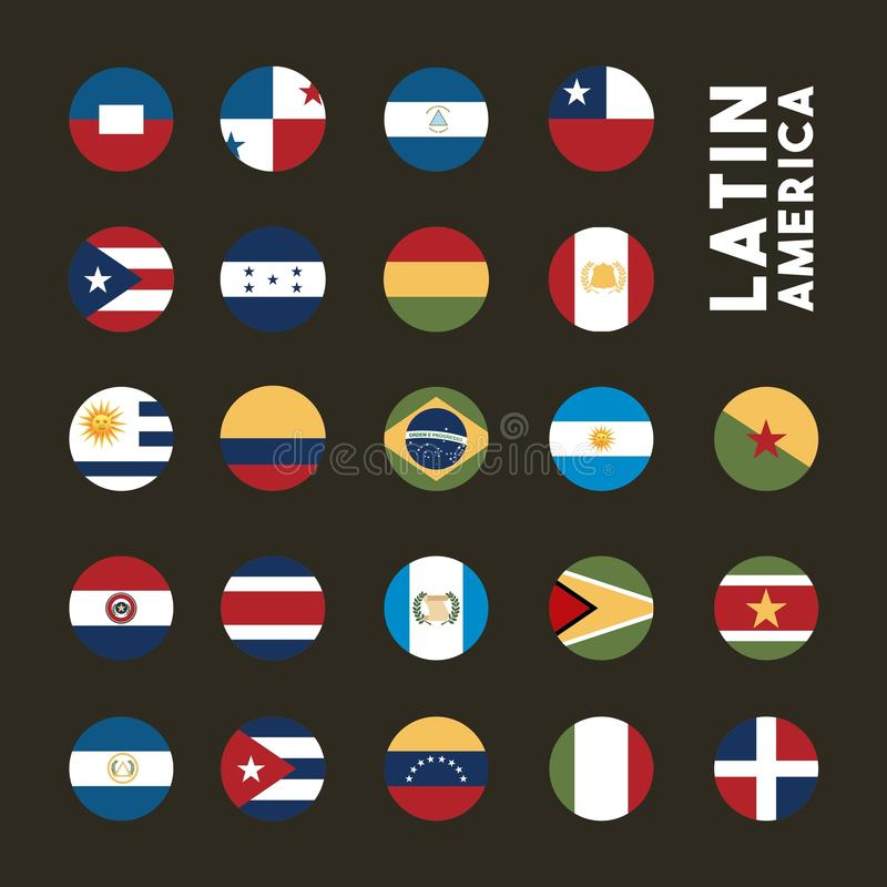 Latin america design. Flags of latin america countries on buttons. colorful design. illustration vector illustration