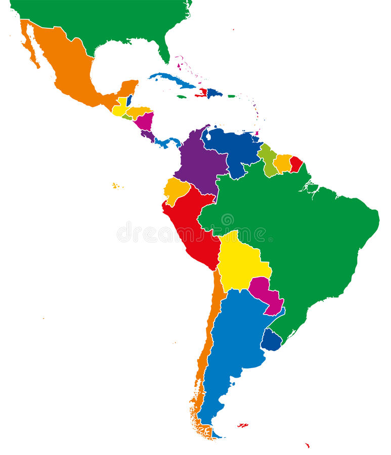 Latin america single states map full color stock vector for What color is south america