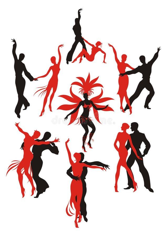 Latin American dances. Set. red and black silhouettes of the people dancing the Latin American dances royalty free illustration