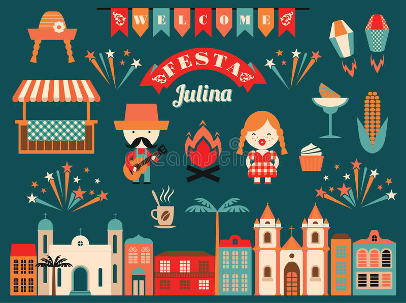 Latin American holiday, the June party of Brazil. stock illustration