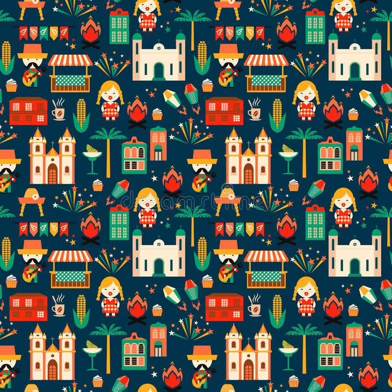 Latin American holiday, the June party of Brazil. Flat seamless pattern vector illustration
