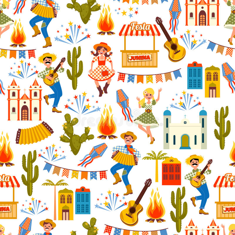 Latin American holiday, the June party of Brazil. Seamless pattern. royalty free illustration