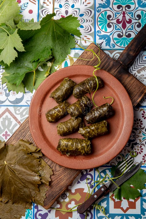 Latin American Mexican Chilean cuisine. Ninos envueltos. Grape leaves stuffed wish meat on clay plate. Latin American Mexican Chilean cuisine. Ninos envueltos royalty free stock photography