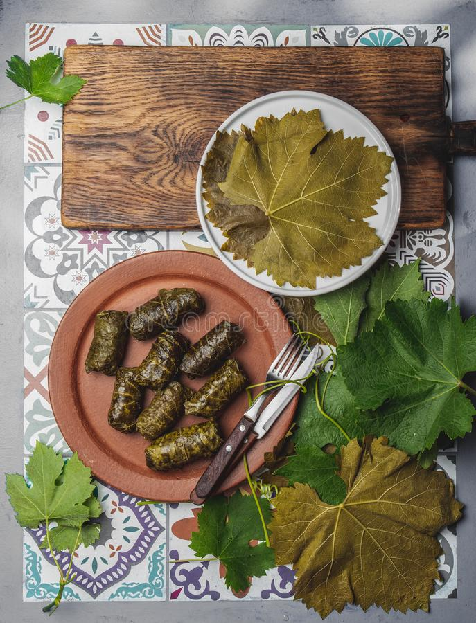 Latin American Mexican Chilean cuisine. Ninos envueltos. Grape leaves stuffed wish meat on clay plate. Latin American Mexican Chilean cuisine. Ninos envueltos stock photography
