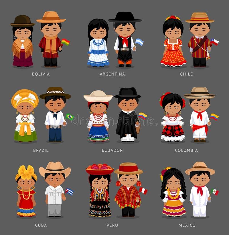 Latin - amerikanskt folk i nationell klänning royaltyfri illustrationer