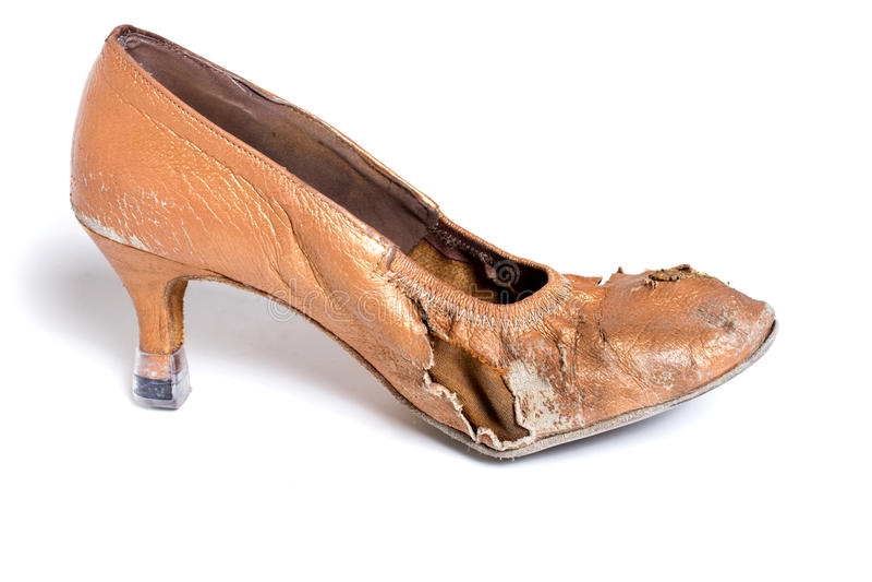 Latin ballroom dance shoes. Closeup shot of pair of worn-out latin ballroom dance shoe stock photography