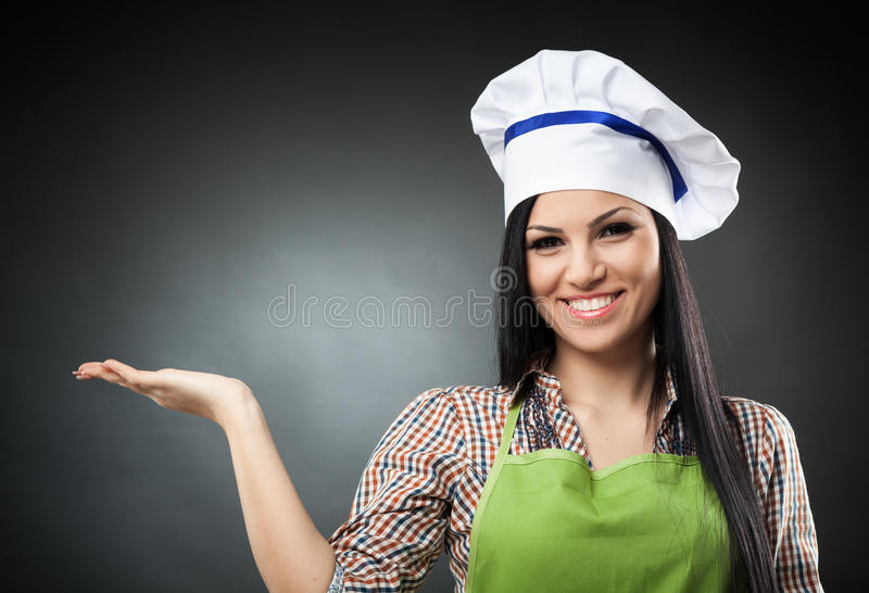 Download Latin Chef Woman Presenting The Copyspace Stock Image - Image: 37718249