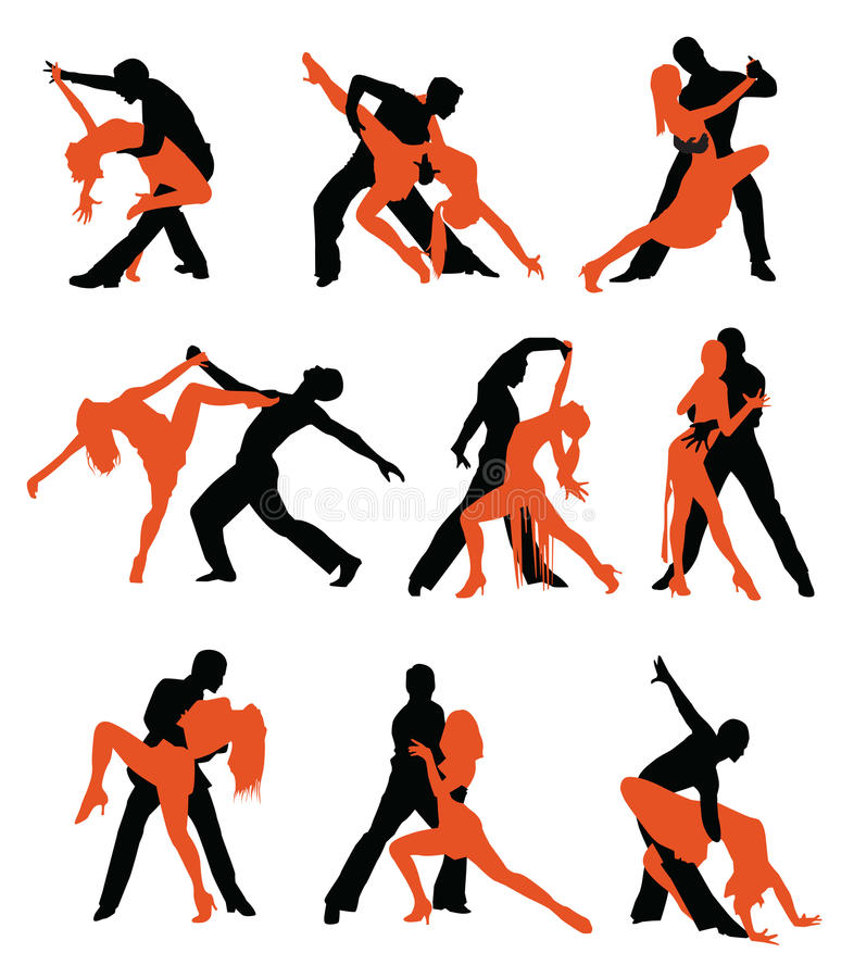 Latin dancers silhouettes stock illustration