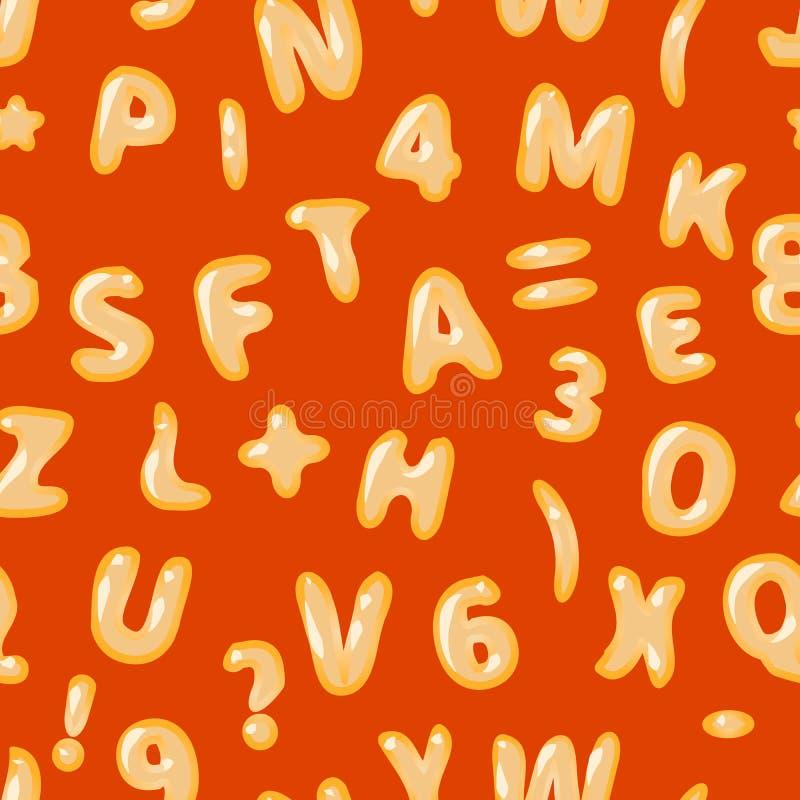 Latin de soupe à alphabet sur le modèle sans couture rouge illustration de vecteur