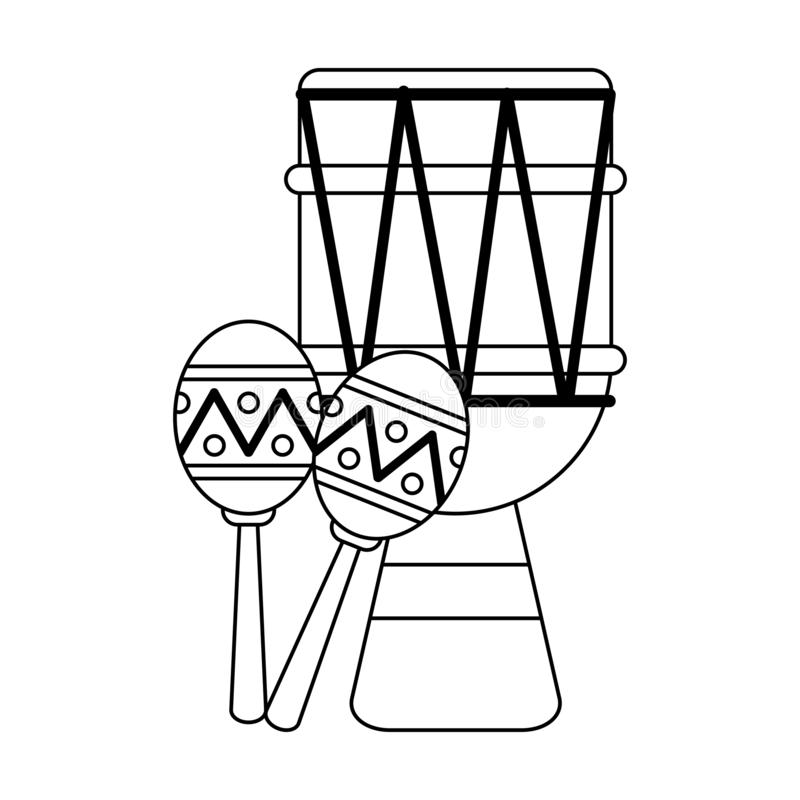 Latin drum and maracas music instruments black and white stock illustration