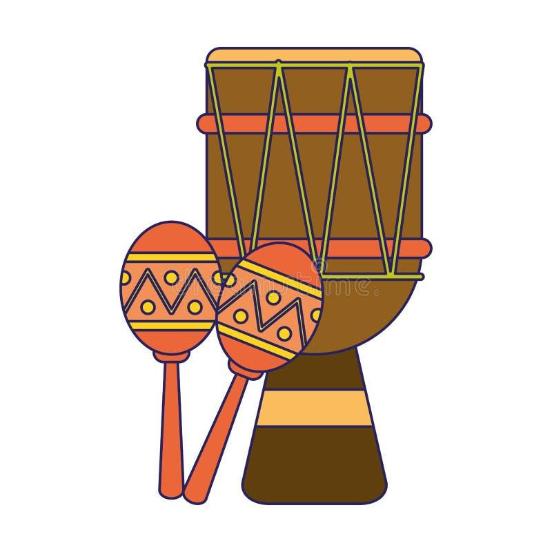 Latin drum and maracas music instruments vector illustration