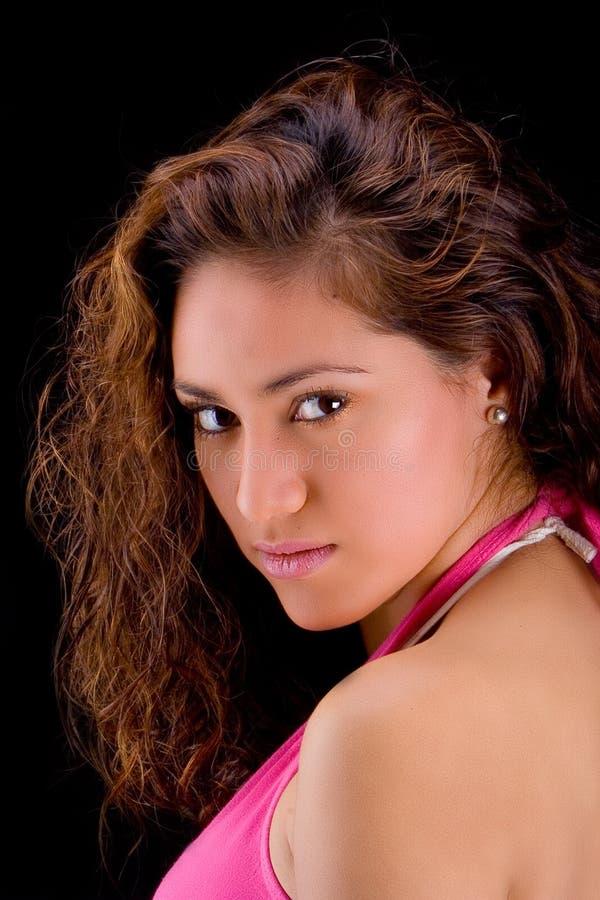 Latin girl in black royalty free stock photography