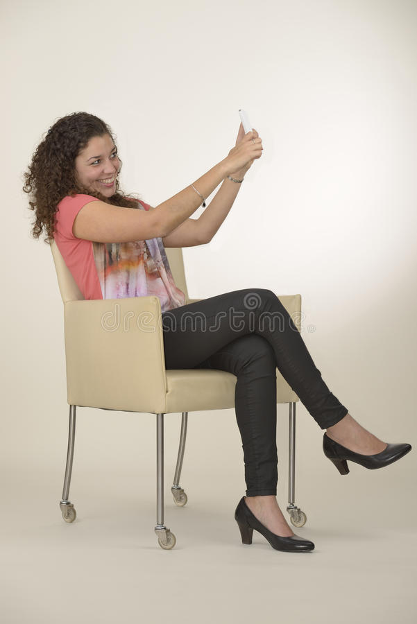 Latin girl takes selfie royalty free stock image