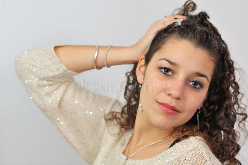 Latin girl dressed up stock photography