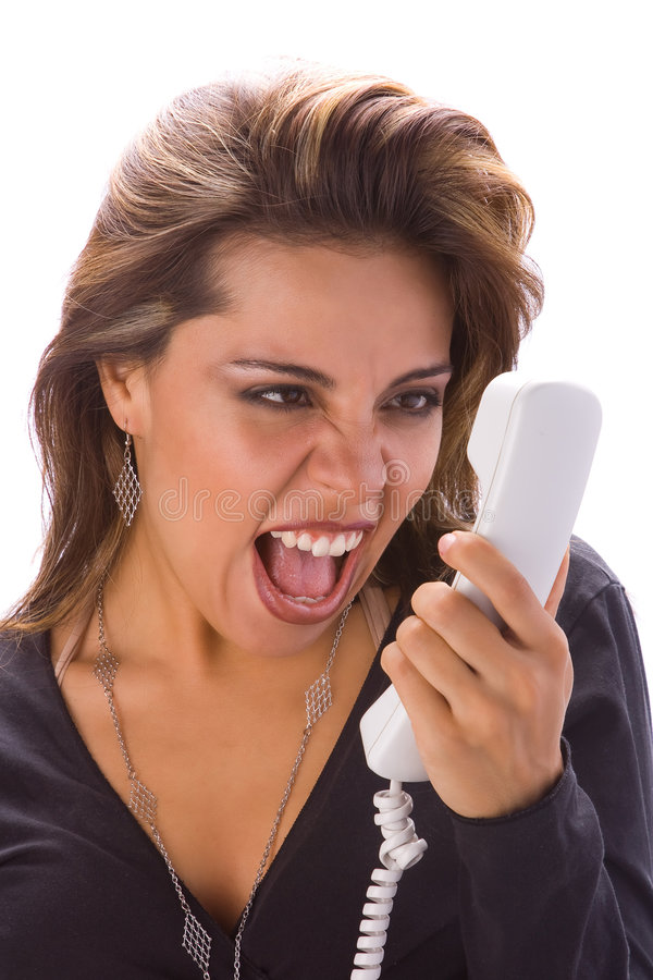 Latin girl with phone yelling royalty free stock image
