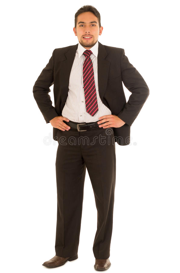 Latin guy in a suit with red tie royalty free stock photos