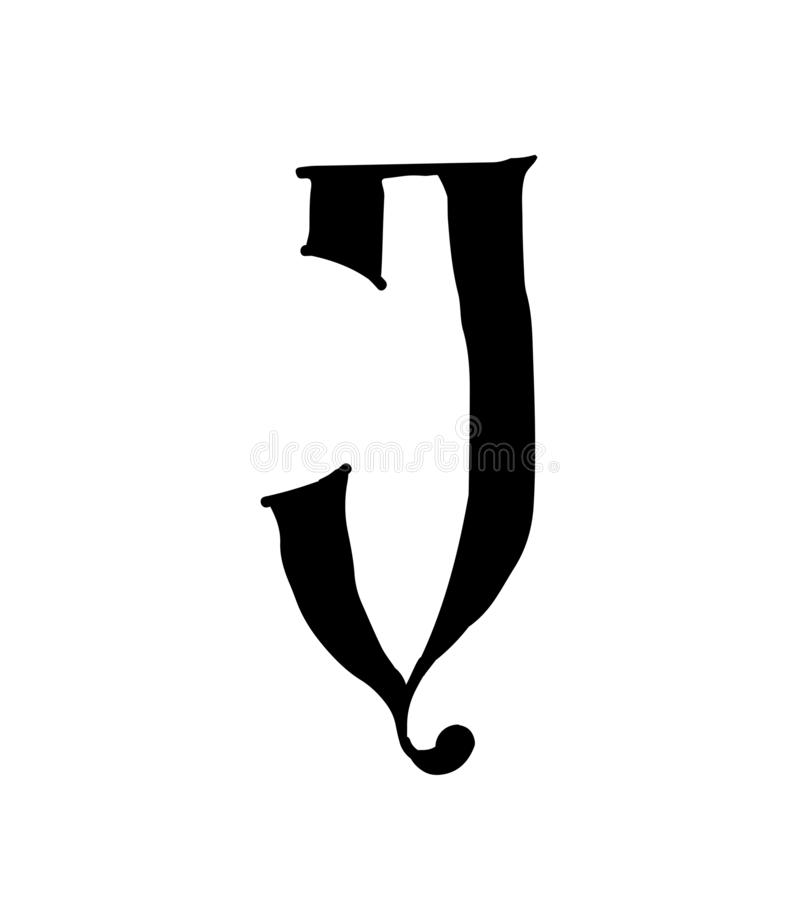 Latin letter J. Vector. Logo for the company. Icon for the site. Separate letter from the alphabet. Gothic neo-Russian ancient sty royalty free illustration