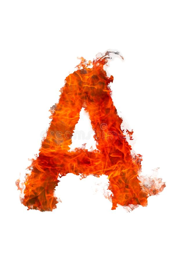 Latin letter A made of fire on a white background stock photos
