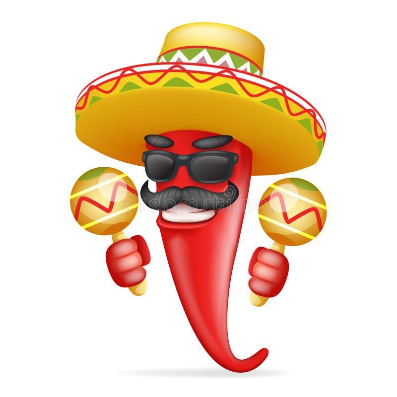 Latin maraca mexican hat red cool hot chili pepper sunglasses mustache happy character realistic 3d cartoon design vector illustration