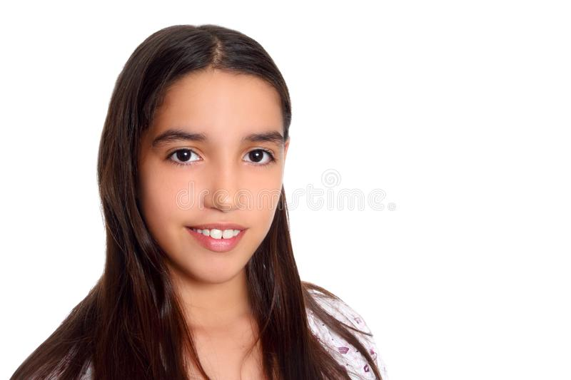 Latin mexican indian ethnic student. Teenager smiling portrait white background stock image