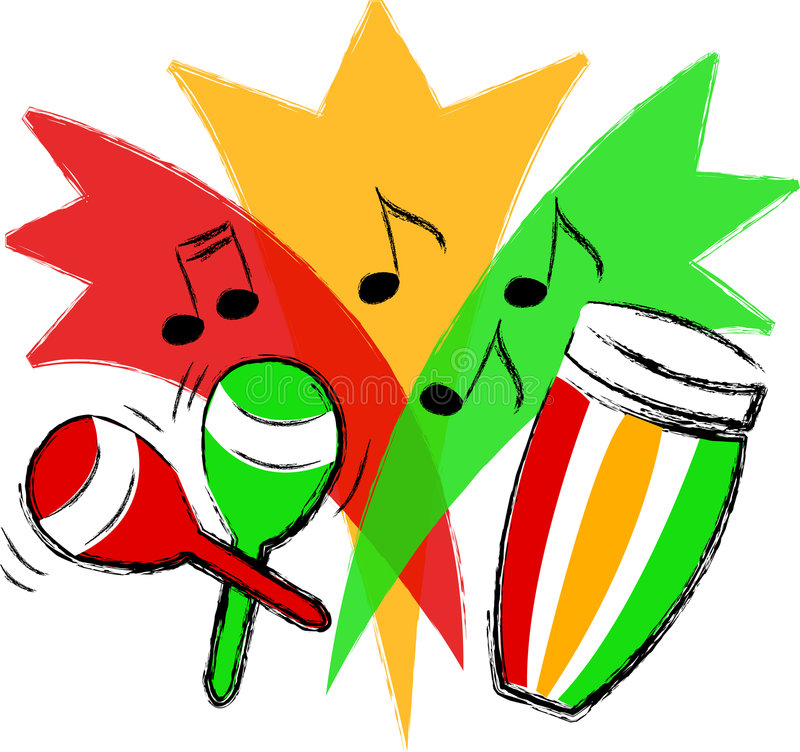Latin Music/ai. Illustration in gold, green and red...representing latin music, with a conga drum and maracas