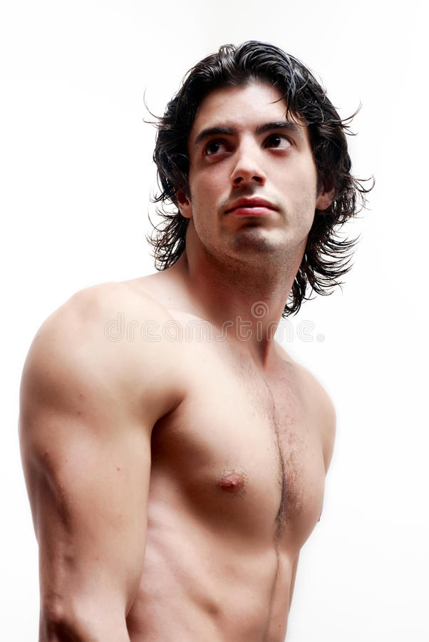 Latin young man without a vest stock photo