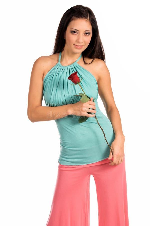 Latina alla moda con Rosa fotografia stock