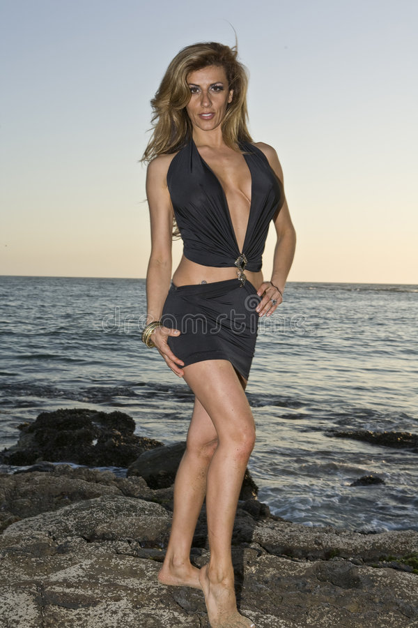 Latina Beauty standing on Rocks at the Beach. Beautiful Latina standing on Rocks at te Beach in a Dress royalty free stock image