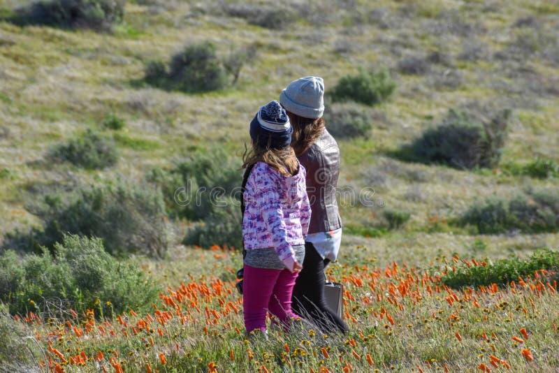 Latina córki i matki odprowadzenie w pustynnym Kalifornia maczka polu na ścieżce obrazy stock