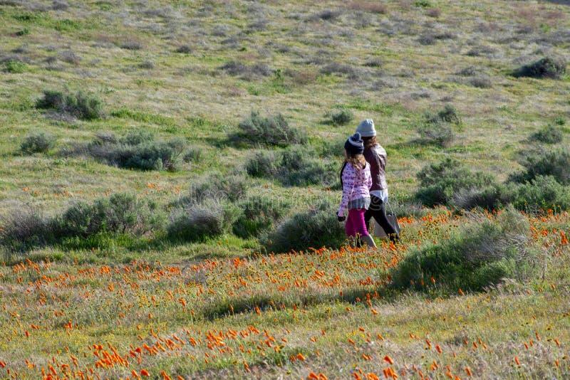 Latina córki i matki odprowadzenie w pustynnym Kalifornia maczka polu na ścieżce zdjęcie royalty free